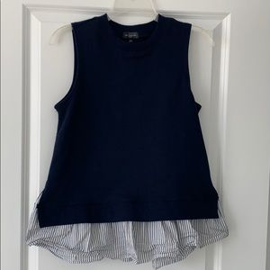 The Limited navy sweater vest sleeveless woven